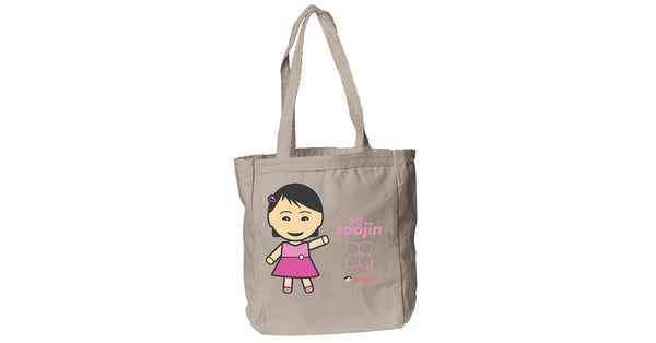 Canvas Book Tote with Soojin logo, character, hyoong bae and Doogaji logo