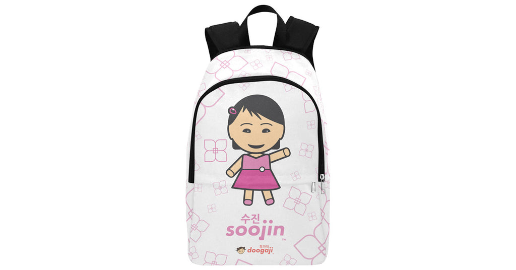 Multi-pocket Fabric Backpack with Soojin logo, character, hyoong bae and Doogaji logo