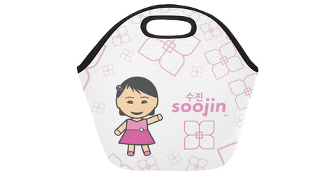 Neoprene Lunch Bag front view with Soojin logo, character, and hyoong bae
