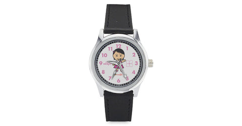 Kid's Leather Strap Watch with Soojin logo, character, hyoong bae and Doogaji logo