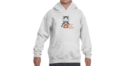Youth Hoodie with character, bag graphic, text, Neibul logo and Doogaji logo