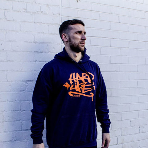 Graffiti Hoodie Navy & Orange