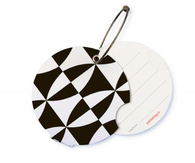 Luggage tag, black and white