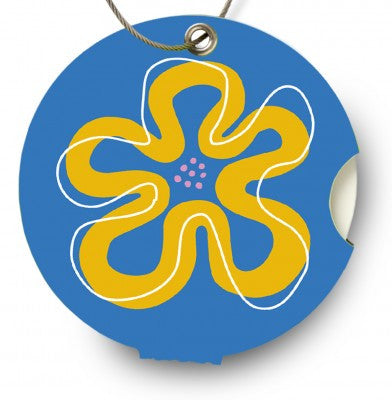 Luggage tag, flower blue