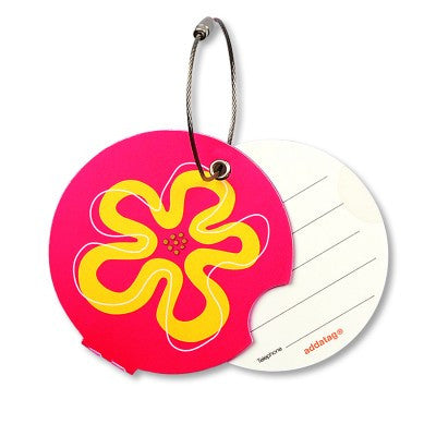 Luggage tag, flower pink