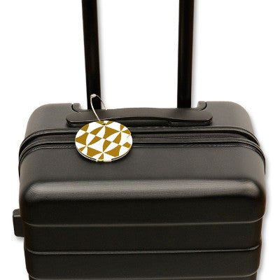 Luggage tag, gold and white
