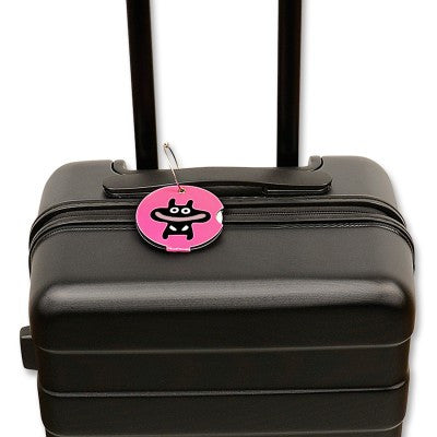 Luggage tag, happy pink
