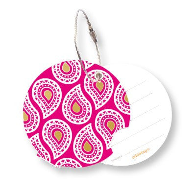 Luggage tag, paisley ruby