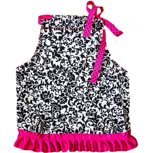 Dainty Damask Little Black Dog Dress With Fuchsia Ruffle by Furrever Doggies for Pupology Dog Boutique