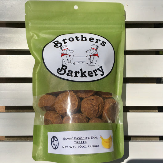Elvis' Favorite Peanut Butter Banana Natural Dog Treats by Brothers Barkery sold by Pupology