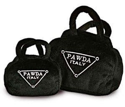 Pawda Handbag Prada Parody Squeaky Toy by Haute Diggity Dog Sold by Pupology Dog Boutique Austin Texas