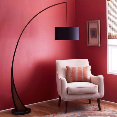 Carson - Contemporary floor lamp with walnut frame and marble base