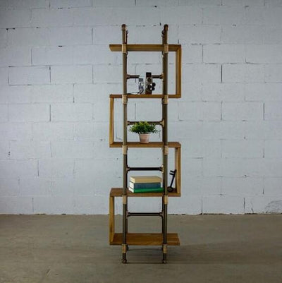 Modern Five Shelf Open Pipe Display Bookcase