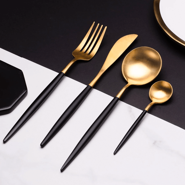Premium Black Silverware Set