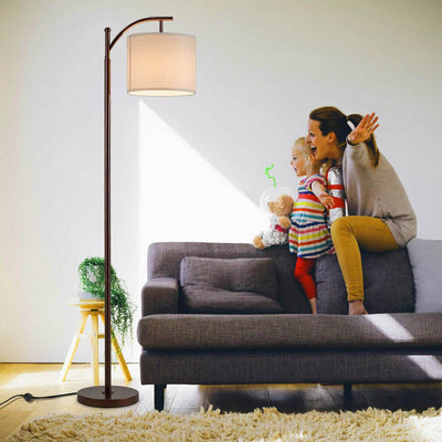 Standing Industrial Arc Light with Hanging Lamp Shade Bedroom - A&T Creative