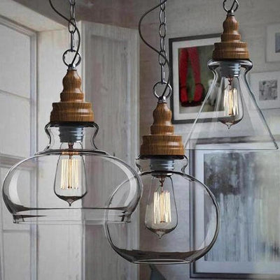 Thalia - Clear Glass Vintage Antique Hanging Light - A&T Creative