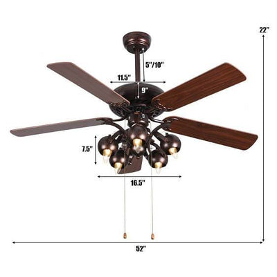 "Hardy-52"" Vintage Rustic Ceiling Fan Light w/ 5 Reversible Blades"