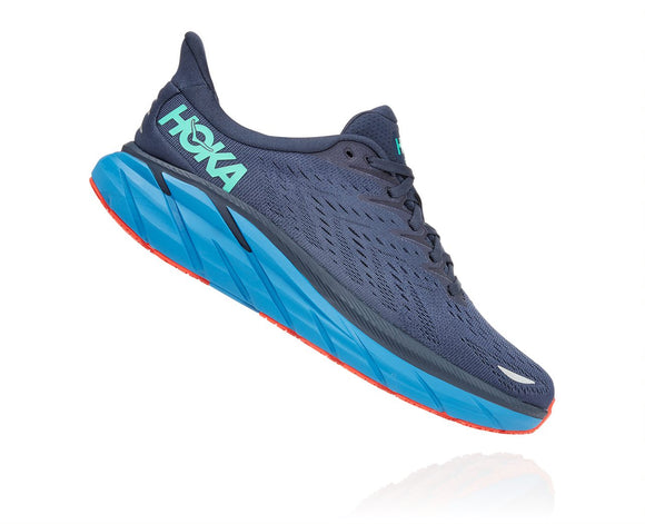 Hoka One One Men's Clifton 8 Outer Space/Vallarta Blue (D or 2E Width) AVAILABLE JUNE 2021