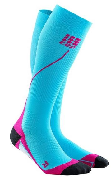 CEP Women's Progressive+ Compression Run Socks 2.0 Hawaii Blue/Pink 20-30mmHg