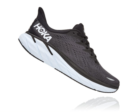 Hoka One One Men's Clifton 8 Black/White (D or 2E Width) AVAILABLE JUNE 2021