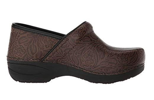 Dansko Women's Pro XP 2.0 Clog - Brown Floral Tooled Leather