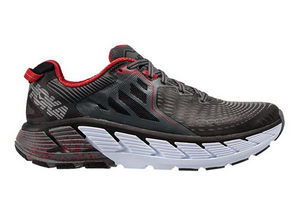 Hoka One One Men's Gaviota Black/Formula One (Red), Charcoal, (D Width)