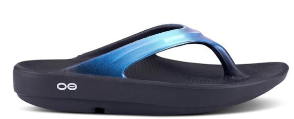 Oofos Oolala Luxe Women's Flip Flop (Black & Atlantis Blue) LIMITED SIZES
