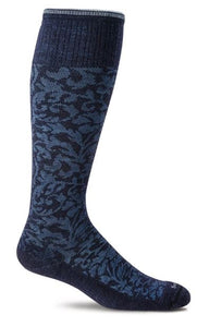Women's Damask Compression Socks (15-20mmHG) Navy by Sockwell