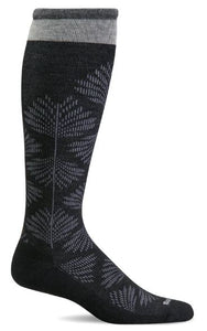 Women's Full Floral (Wide Calf Fit) Compression Socks (15-20mmHG) Black by Sockwell