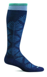 Women's Full Floral (Wide Calf Fit) Compression Socks (15-20mmHG) Navy by Sockwell