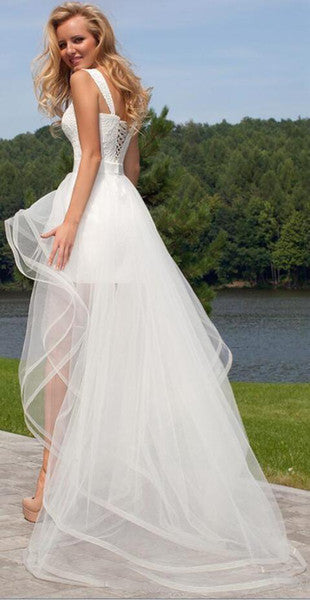 ... Beach 2 In 1 Beach Wedding Dresses With Tulle Detachable Skirt Short  Lace Up Bridal ...