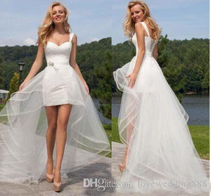 Beach 2 In 1 Beach Wedding Dresses With Tulle Detachable Skirt Short  Lace Up Bridal