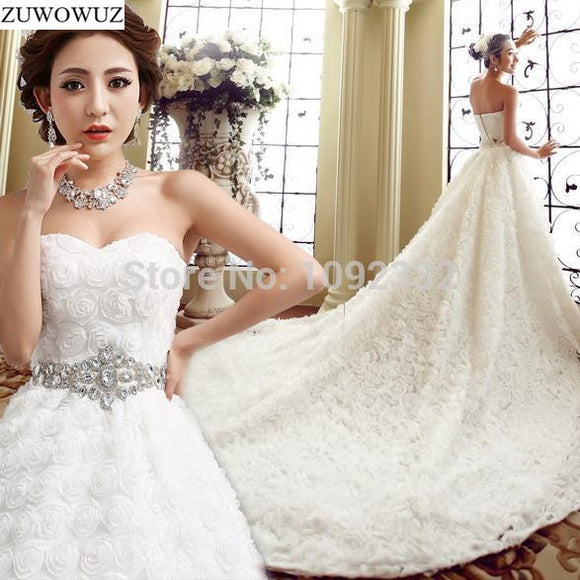 bridal gown women tube top long train tail diamond wedding dress