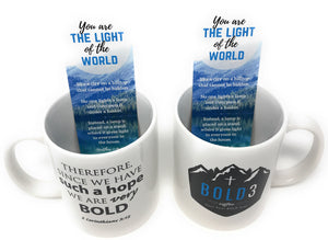 BOLD3 Coffee Scripture Mugs and Scripture Bookmarks