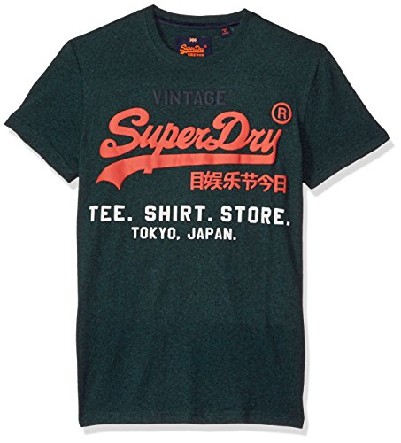 Superdry Men's Shirt Shop Tee, Blue Bottle Grit, XL