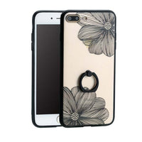 Hot Floral Daisy Painting Flower Case For iPhone 7 6 6S Plus Phone Cases Elegant Style Clear Cover With Ring holder Stand Funda
