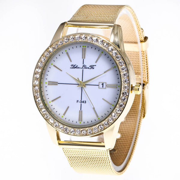 Faux Diamond Gold Watch