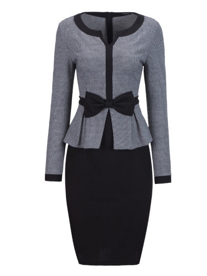 Fashion Vogue Bowknot Long Sleeve Women's Bodycon Dress