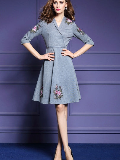 Embroidery Half Sleeve Gray Women's Day Dress