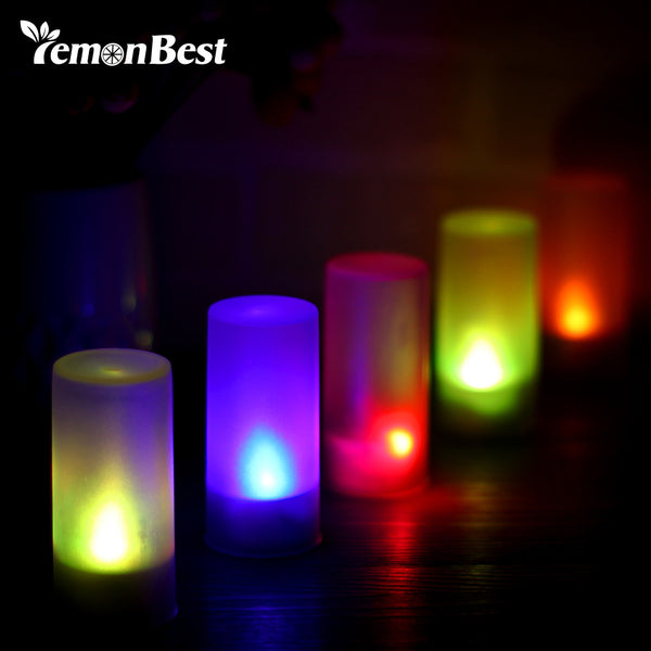 Lemonbest RGB LED Candle Night light Flickering Blow Activated Flash Candle Lamp Night Light Home Decor Creative Gift For Baby C