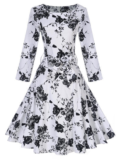 Lace up Floral Women's Long Sleeve Dress