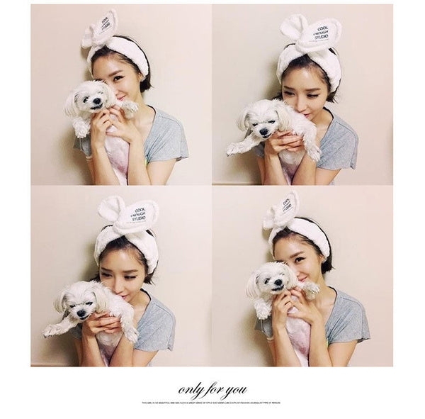 Cute ladies cute Meng face wash headband rabbit ears headdress