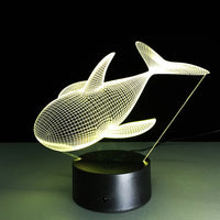 3D Lamp Visual Light Effect Touch Switch & Remote Control Colors Changes Night Light (Whale)