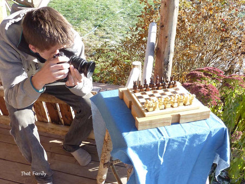 taking a picture of a chess set