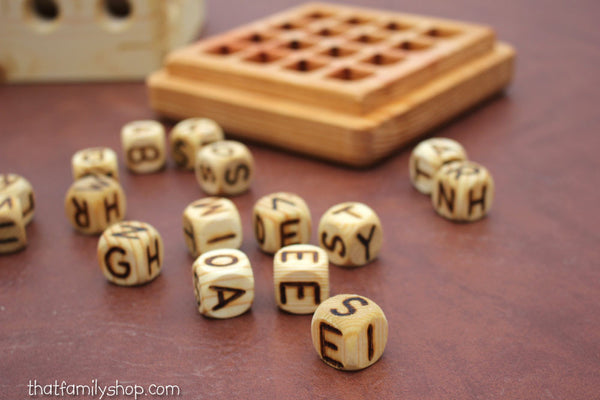 Wood Boggle Family Word Game - thatfamilyshop.com