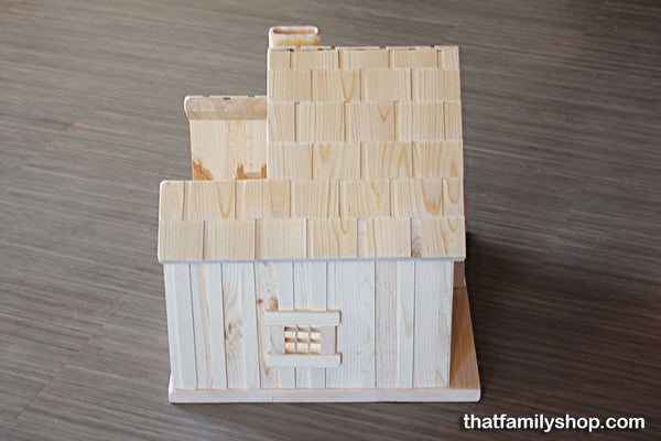 Little House Prairie Dollhouse Playset, Family People, House, Furniture, Accessories, Natural Waldorf-thatfamilyshop.com