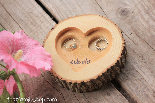"Rustic 'We Do' Custom Log Ring Bearer ""Pillow"" Dish, Initials Date Custom Wood Burning - thatfamilyshop.com"