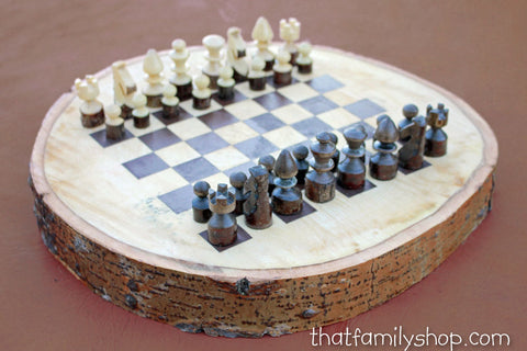 Hand-Turned Rustic Log Chess Set - thatfamilyshop.com