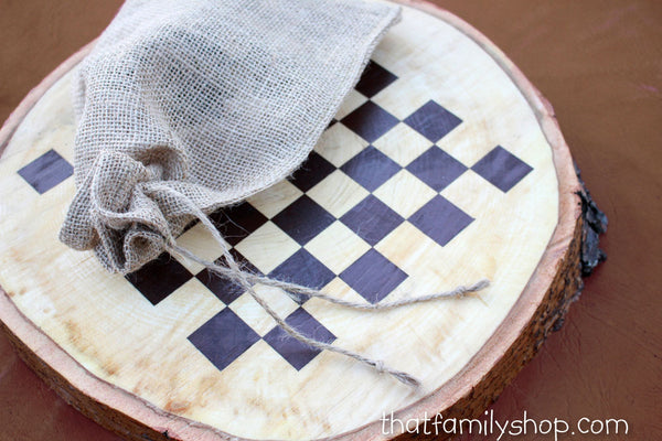 Hand-Turned Rustic Log Chess Set-thatfamilyshop.com