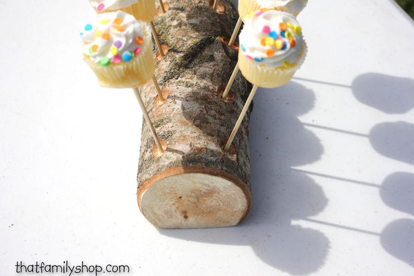 Woodsy 18 Cake Pop Holder Log, Aspen Wood Party Table Display - thatfamilyshop.com